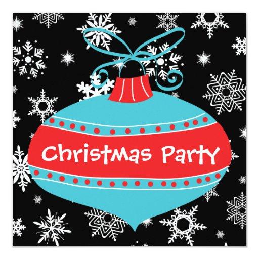 """Fiesta de Navidad retra azul del trullo rojo Invitación 5.25"""" X 5.25"""""""