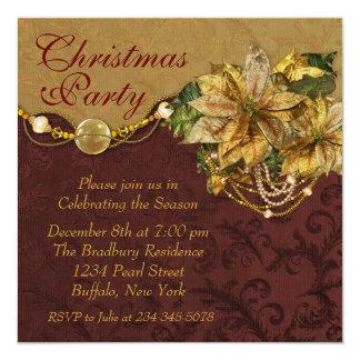 Fiesta de Navidad roja del Poinsettia del oro Anuncios