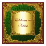 Fiesta de Navidad roja elegante del oro verde Invitaciones Personales