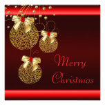 Fiesta de Navidad roja negra del oro Comunicado Personalizado