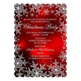 """Fiesta de Navidad roja Scall del copo de nieve Invitación 5"""" X 7"""""""