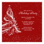 Fiesta de Navidad roja y blanca elegante del día d Invitacion Personal