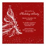 Fiesta de Navidad roja y blanca elegante del día Invitacion Personal