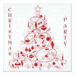 Fiesta de Navidad roja y blanca elegante Invitación 13,3 Cm X 13,3cm