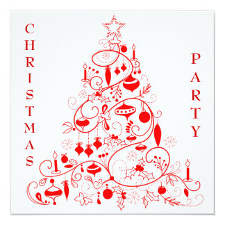 """Fiesta de Navidad roja y blanca elegante Invitación 5.25"""" X 5.25"""""""