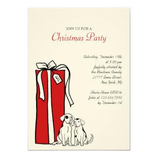Fiesta de Navidad roja y blanca festiva del perro Invitación 12,7 X 17,8 Cm