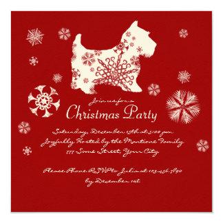 Fiesta de Navidad roja y blanca festiva del perro Invitación 13,3 Cm X 13,3cm