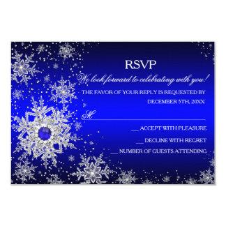 """Fiesta de Navidad RSVP del copo de nieve de la Invitación 3.5"""" X 5"""""""