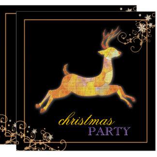 """Fiesta de Navidad única del negro del reno del Invitación 5.25"""" X 5.25"""""""