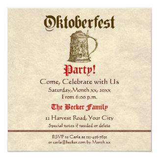 "Fiesta de Oktoberfest Invitación 5.25"" X 5.25"""