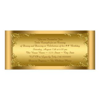 """Fiesta de oro elegante del boleto invitación 4"""" x 9.25"""""""