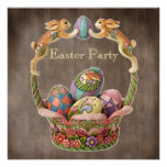 Fiesta de Pascua de los conejitos y de los huevos  Invitación Personalizada