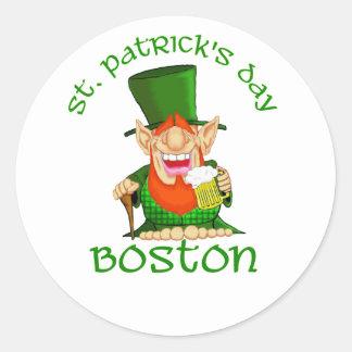 Fiesta de Patty O del ~ de Boston del día del St Pegatina Redonda