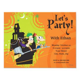 """Fiesta de Phineas y de Ferb Halloween Invitación 4.25"""" X 5.5"""""""