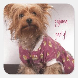 Fiesta de pijama de Yorkie Pegatina Cuadrada