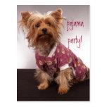 Fiesta de pijama de Yorkie Tarjetas Postales