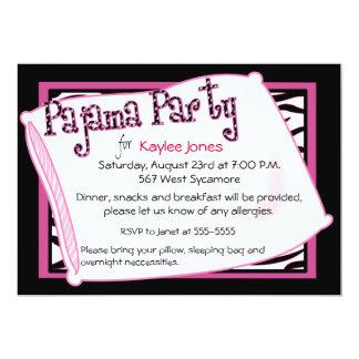 """Fiesta de pijama en negro y rosa invitación 5"""" x 7"""""""