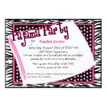 Fiesta de pijama en puntos negros y rosados invitaciones personalizada