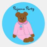 Fiesta de pijama pegatina redonda