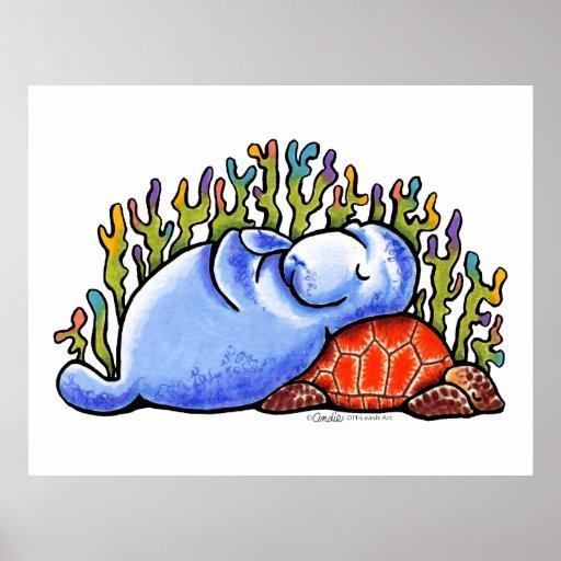 Fiesta de pijamas de la tortuga de mar del Manatee Póster