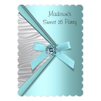 Fiesta de plata azul del dulce 16 de la cebra del anuncio personalizado