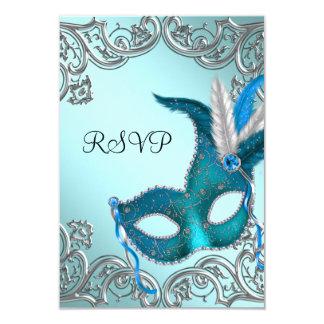 """Fiesta de plata azul RSVP de la mascarada de la Invitación 3.5"""" X 5"""""""