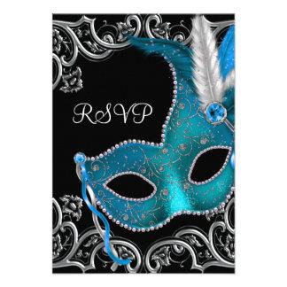 Fiesta de plata azul RSVP de la mascarada de la má Anuncios Personalizados