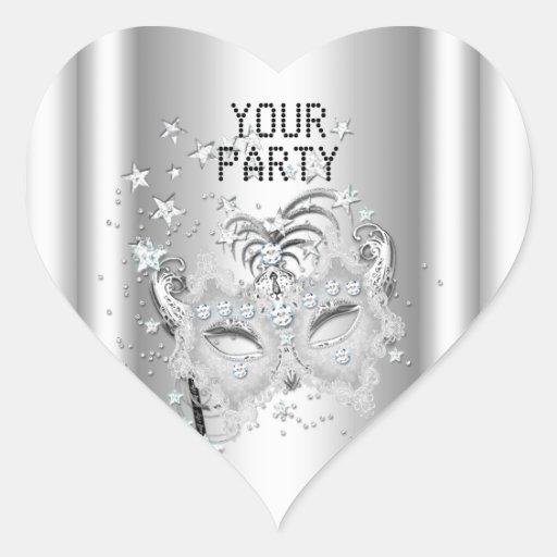 Fiesta de plata blanco de la MÁSCARA del corazón Calcomanía De Corazón