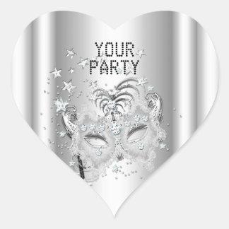 Fiesta de plata blanco de la MÁSCARA del corazón Pegatina En Forma De Corazón