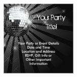Fiesta de plata cuadrado de la bola de discoteca invitacion personal