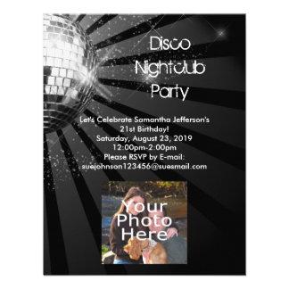 Fiesta de plata de la bola de discoteca de la chis invitacion personalizada