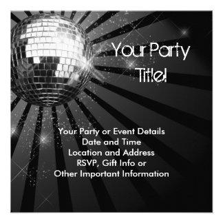 Fiesta de plata de la bola de discoteca de la chis comunicados personalizados
