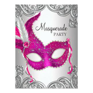 """Fiesta de plata de la bola de mascarada de la invitación 6.5"""" x 8.75"""""""