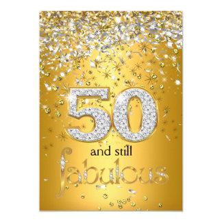 """Fiesta de plata de las flámulas 50.as 50 del oro invitación 5"""" x 7"""""""