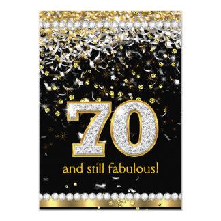 """Fiesta de plata de las flámulas 70.as 70 del oro invitación 5"""" x 7"""""""