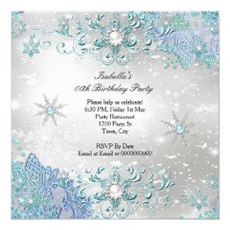 """Fiesta de plata de los copos de nieve del país de invitación 5.25"""" x 5.25"""""""