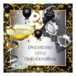 Fiesta de plata fabuloso del negro del oro de la m invitación