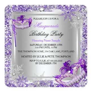 Fiesta de plata púrpura de las máscaras de los invitación 13,3 cm x 13,3cm