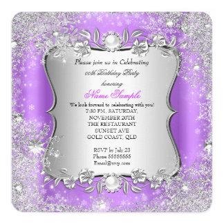 Fiesta de plata púrpura del copo de nieve del país invitación 13,3 cm x 13,3cm