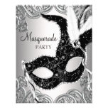 Fiesta de plata y negro de la mascarada de la másc anuncios personalizados