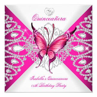 """Fiesta de Quinceanera de la tiara rosada bonita de Invitación 5.25"""" X 5.25"""""""