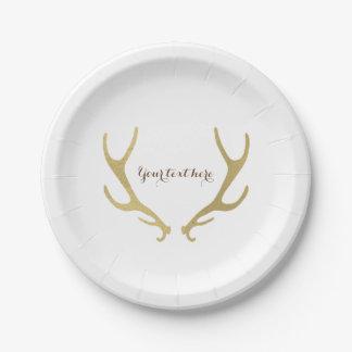 Fiesta de recepción nupcial atractivo de las astas platos de papel