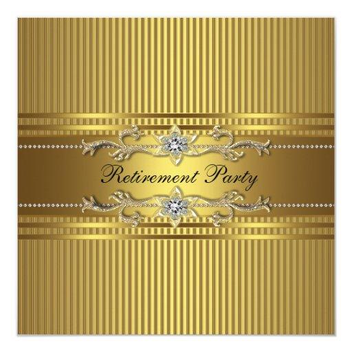 """Fiesta de retiro elegante de la raya del oro invitación 5.25"""" x 5.25"""""""