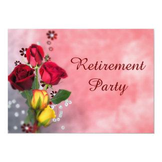 """Fiesta de retiro elegante de los rosas rojos y invitación 5"""" x 7"""""""