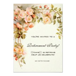 Fiesta de retiro floral de la antigüedad rosada de invitación 12,7 x 17,8 cm