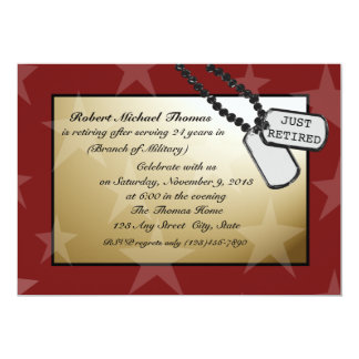Fiesta de retiro militar invitación 12,7 x 17,8 cm