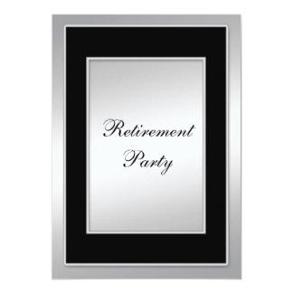 Fiesta de retiro negro y de plata invitaciones personalizada