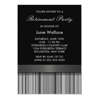 Fiesta de retiro negro y gris elegante de la raya invitación 12,7 x 17,8 cm