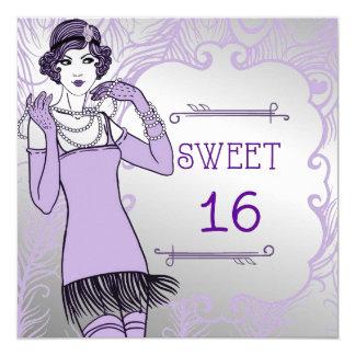 """Fiesta de rugido del dulce retro del chica de la invitación 5.25"""" x 5.25"""""""