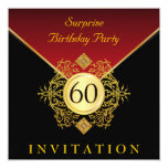 Fiesta de sorpresa del cumpleaños del rojo real invitación 13,3 cm x 13,3cm